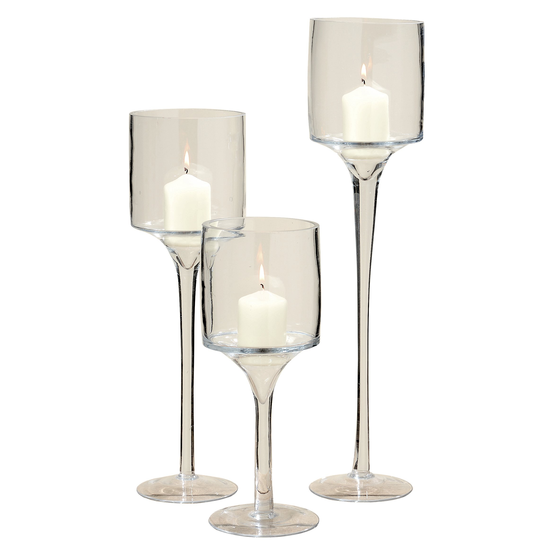 Spectacular Hamptons Long Stem Candle Holders, Set of 3, Centerpiece, Crystal Clear Glass, 19 3/4, 15 3/4, 11 3/4 Tall, 4 3/4 Diameter Cup for Tea Lights or Votives, Modern Wine Goblet Shaped
