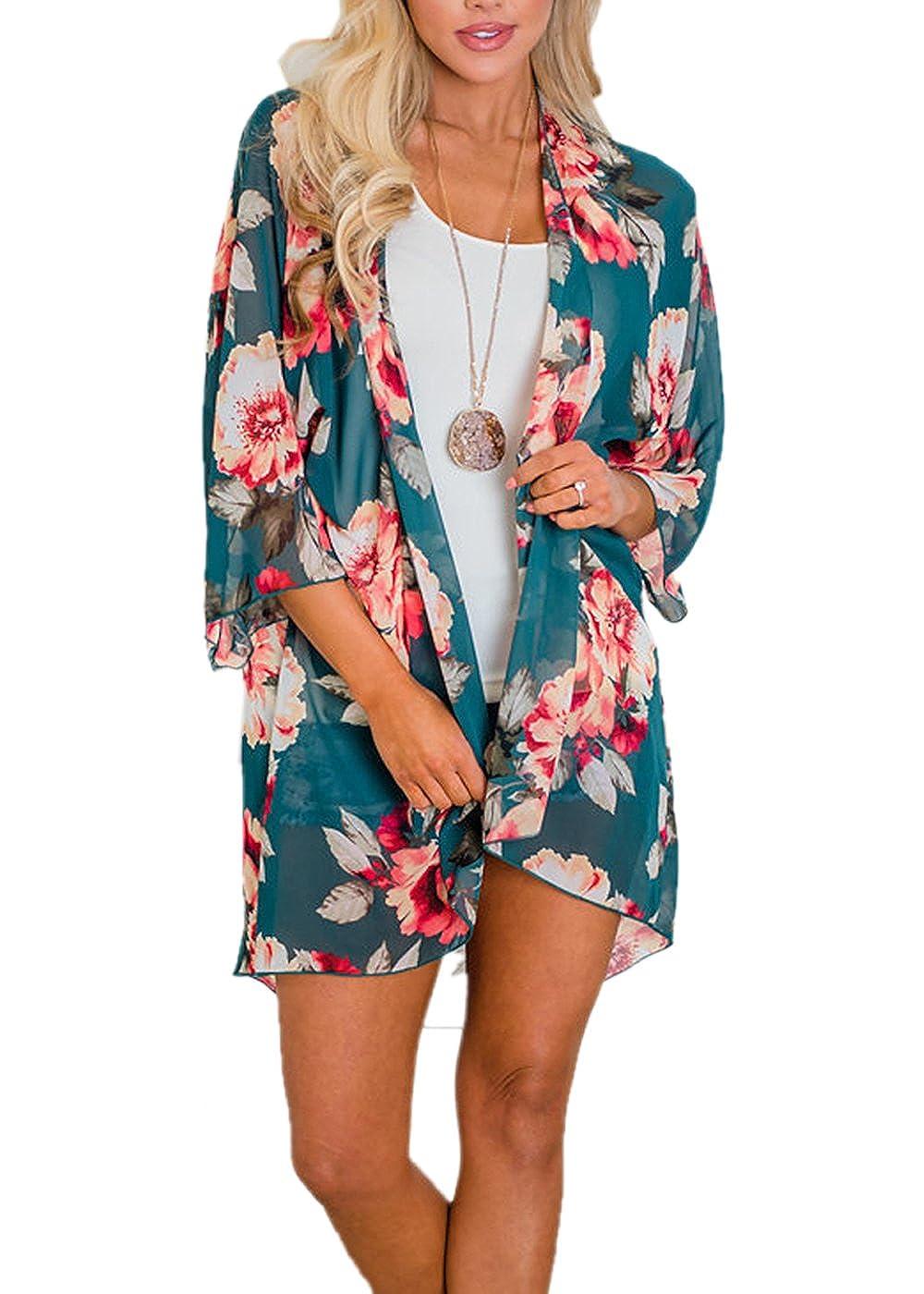 Runant Damen Sommer Boho Chiffon Kimono Stil Gedruckt Tops Jacke Cardigan Blusen Beachwear