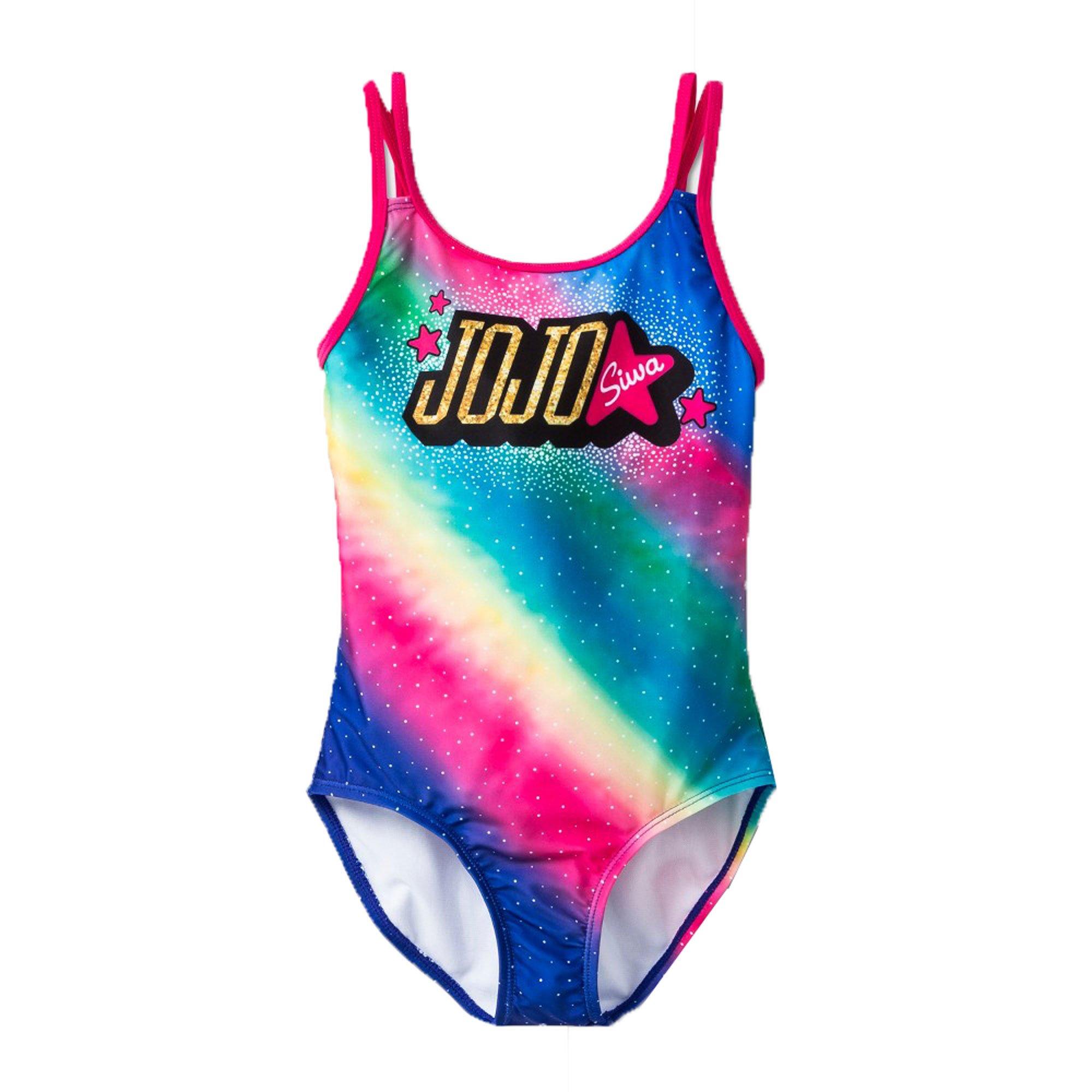 Jojo Siwa Girls One Piece Rainbow Swimsuit (Large 10-12) by Jojo Siwa