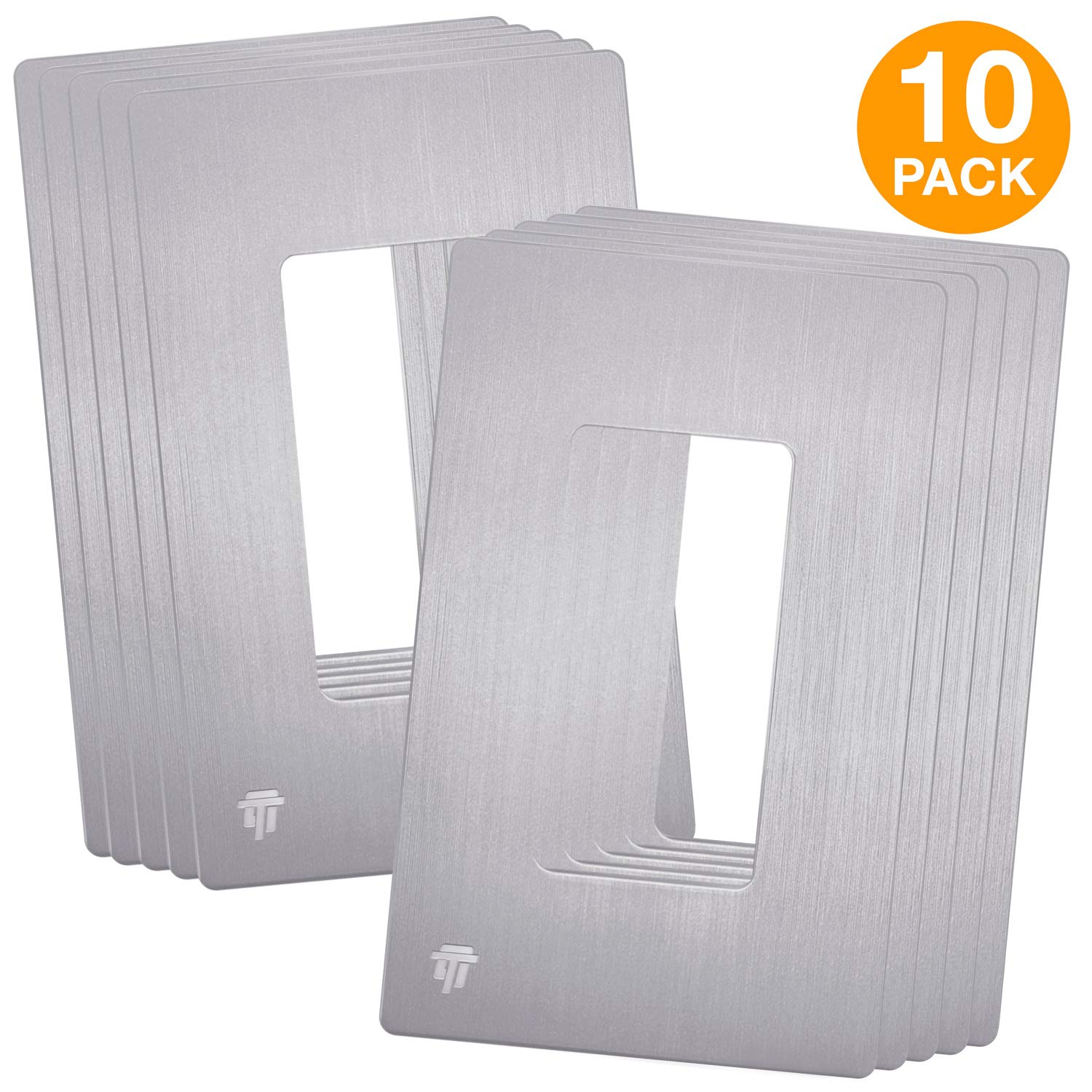 Enerlites SI8831-BSV-10PCS Elite Series Brushed Decorative Screwless Cover Child Safe Decorator Wall Plate, Standard Size 1-Gang, Polycarbonate Thermoplastic, 10 Pack, Silver Color …
