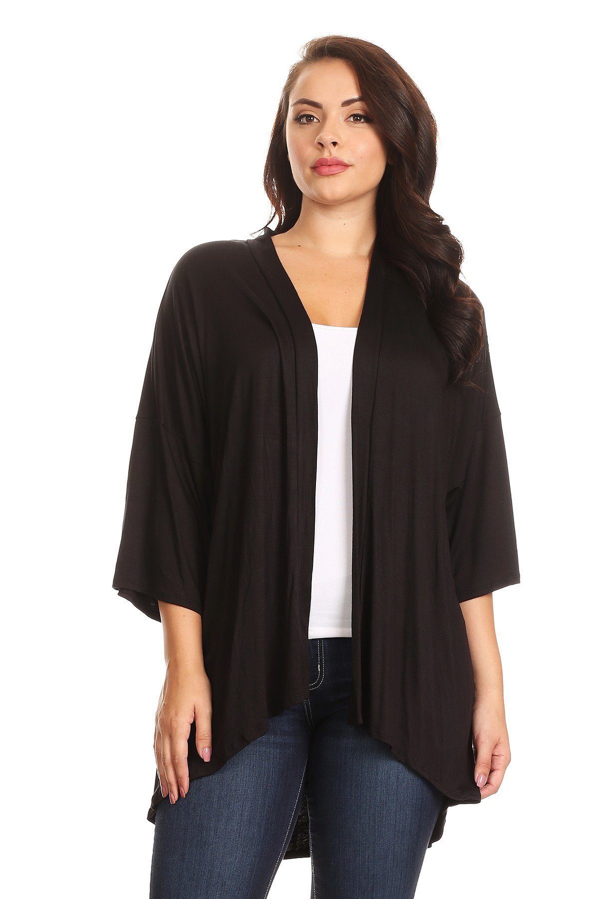 Modern Kiwi Plus Size Solid 3/4 Sleeve Open Front Cardigan Black 3X
