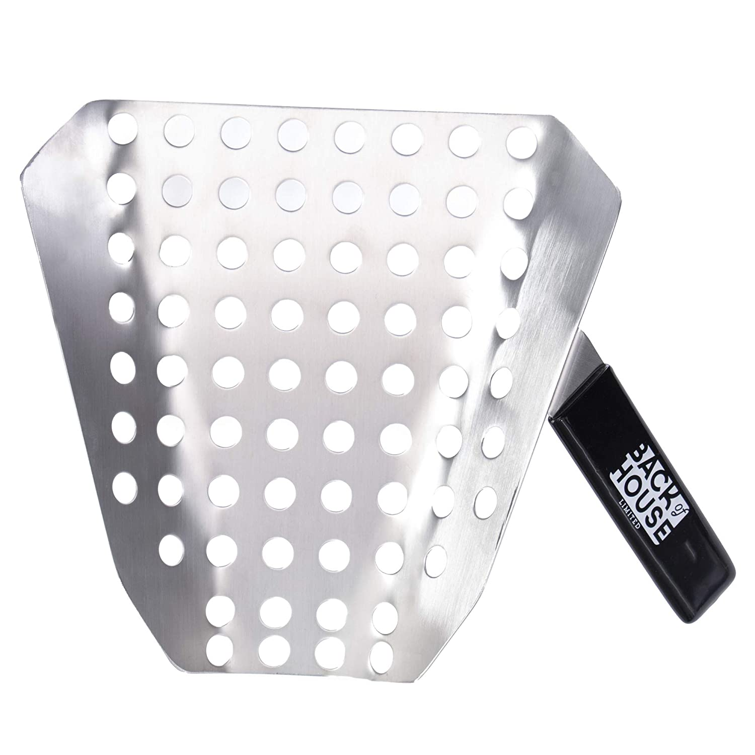 Popcorn Speed Scoop – Perforated Stainless Steel Quick-Fill Scooper for Bags, Buckets & Boxes, Removes Unpopped Kernels – Utility Serving Tool for Snacks, Candy, Dessert, Food, Ice & Dry Goods
