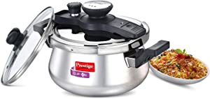 Prestige Clip On Stainless Steel Handi Pressure Cooker with Glass Lid, 5-Liter