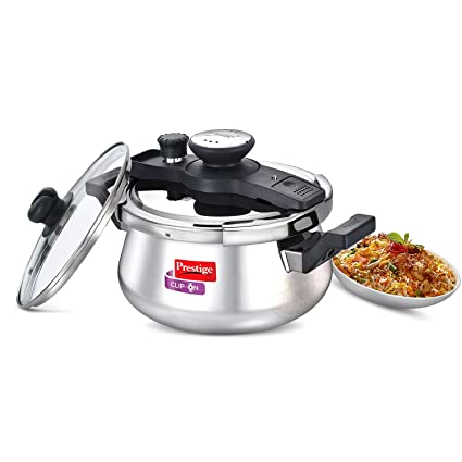 e89f4dddd73 Buy Prestige Clip On Stainless Steel Handi Pressure Cooker with Glass Lid