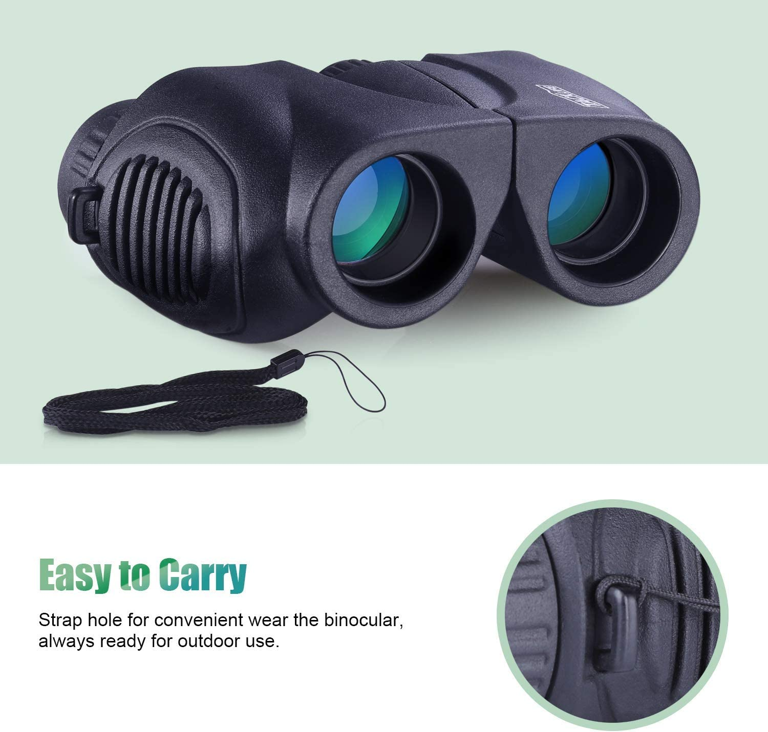 Traveling Bird Watching Hand Strap and Carrying Bag Included MBC03 Compact Folding Telescope 10 x 22 with Eyepiece Dust Cover Dust Proof for Concert Binoculars