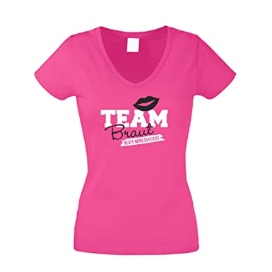 Damen T-Shirt V-Ausschnitt - Team Braut - Heute Wird gefeiert, Fuchsia