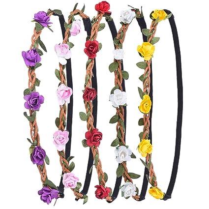 Corona de Flores Guirnalda de La Flor con La Cinta Elástica para Mujeres Niñas, 5