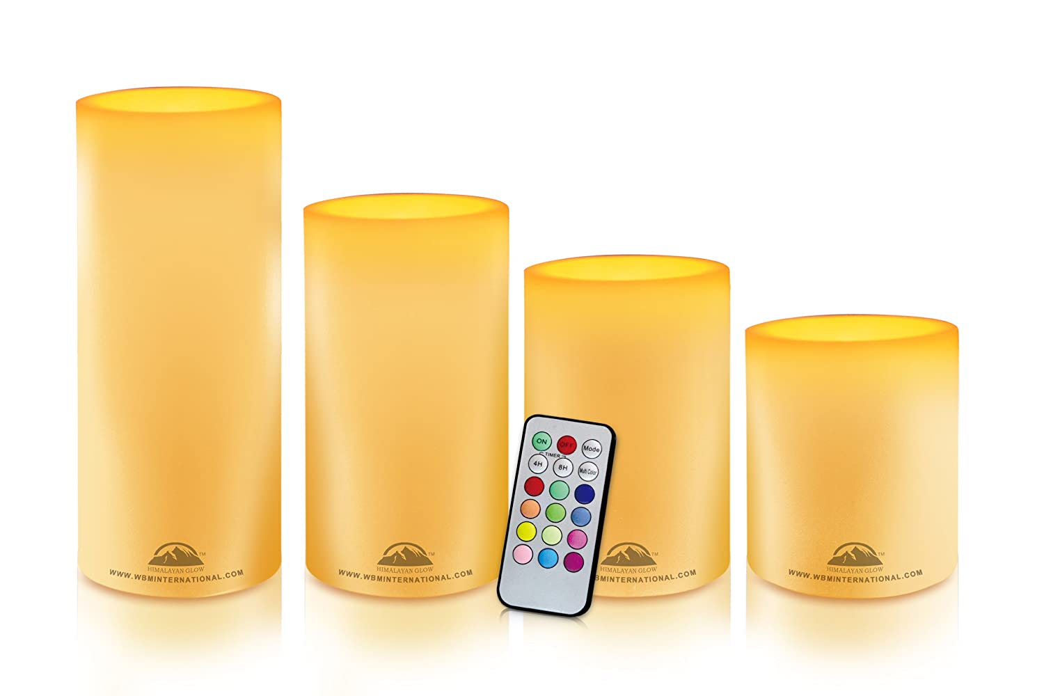 HIMALAYAN GLOW HG1203 Realistic Flameless Multi-Color Changing LED Candle Pillars, set of 3 Pillars, 18 Keys Remote Control with 4 or 8 Hours Timer functions, Adjustable brightness and 12 LED Color Settings