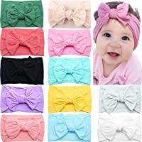 CELLOT 12 Colors Super Stretchy Soft Knot Baby Girl Headbands with Hair Bows Head Wrap For Newborn Baby Girls Infant…