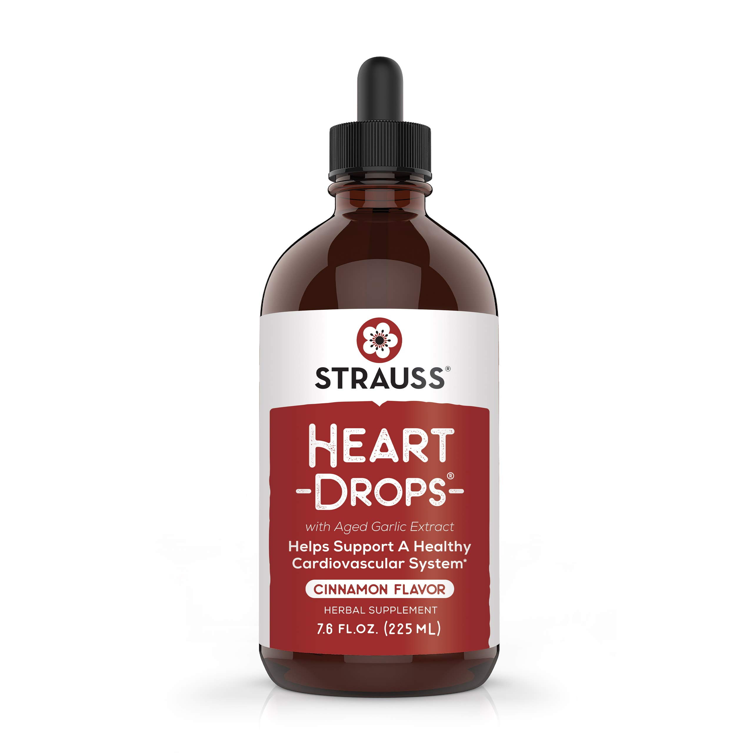 Strauss Naturals Heartdrops, Herbal Heart Supplements with European Mistletoe and Extracts of Aged Garlic, 7.6 fl oz, Cinnamon Flavor