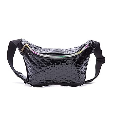 0da4d3788ef7 Holographic Cool Style Black Leather fanny pack For Women Girls 80s  Festival Rave Personality Fashion Waist Belt bag-Leather Black