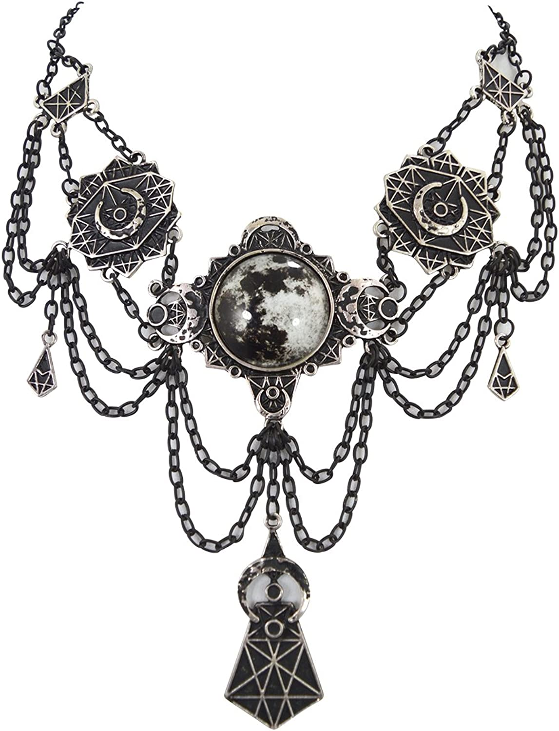 Non-Leather /& Adjustable Gothic Silver Toned Crescent Moon Choker Necklace