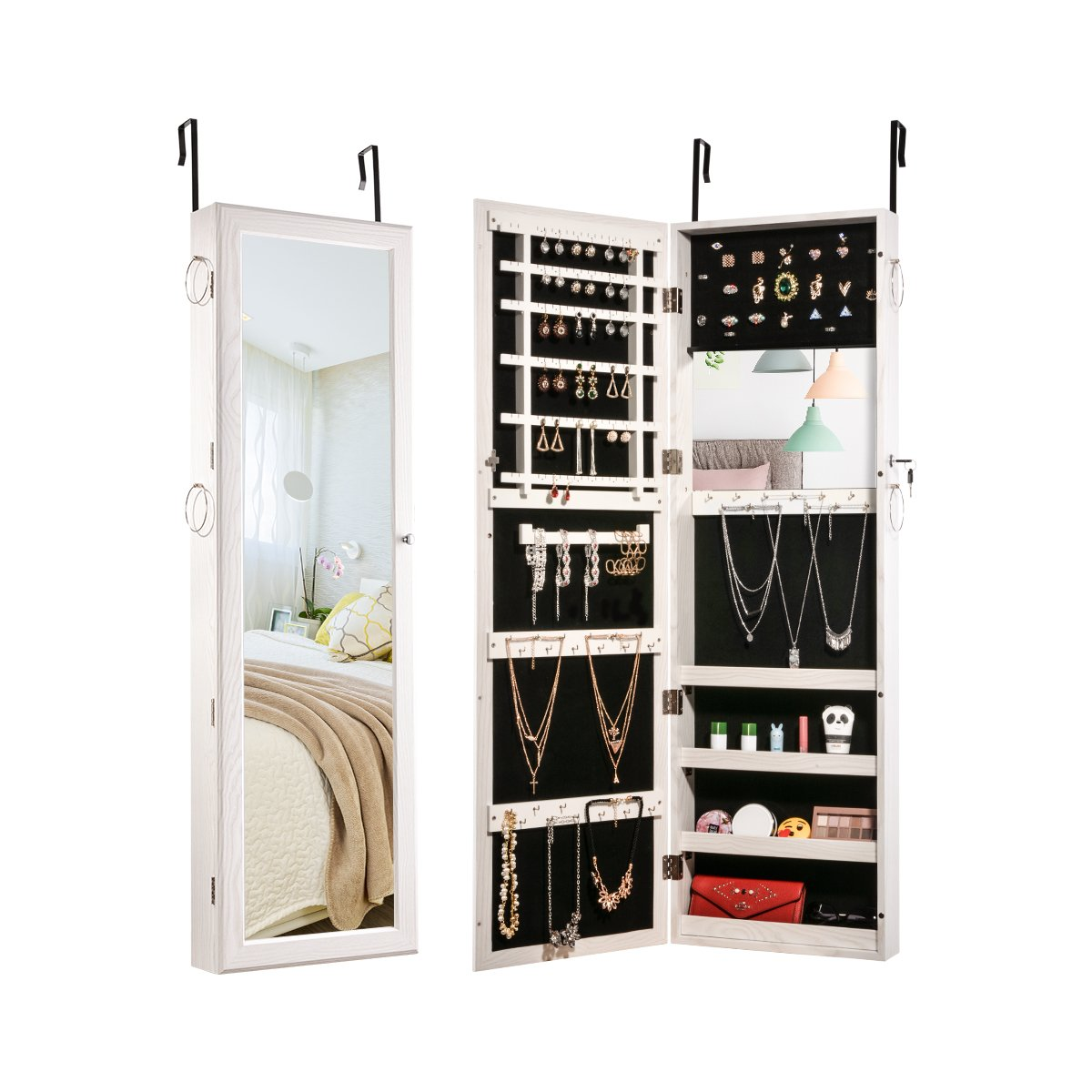 Sunix Jewelry Cabinet Lockable Jewelry Armoire Organizer with Built-in Make up Mirror White