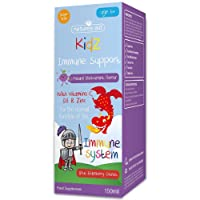 Natures Aid Kids Immune Support Formula for Children (150 ml, Natural Blackcurrant Flavour, Vitamin C, D3, Zinc and Elderberry, Sugar Free, Vegan Society Approved, Made in the UK) 6 Years plus