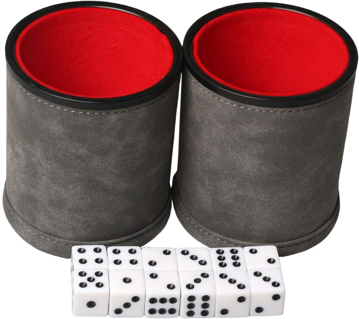 RERIVER 2 Pack Leatherette Dice Cup Set with 12 Dices Felt Lining Inside Quiet for Playing Liars Dice Farkle Board Games