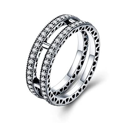 d098fa08b Amazon.com: The Kiss Double Hearts 925 Sterling Silver Stackable Ring,  Clear CZ: Jewelry