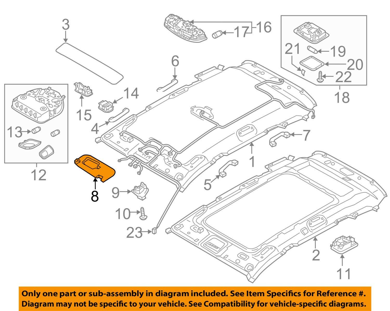 Right Genuine Hyundai 85220-4Z100-OM Sun Visor Assembly