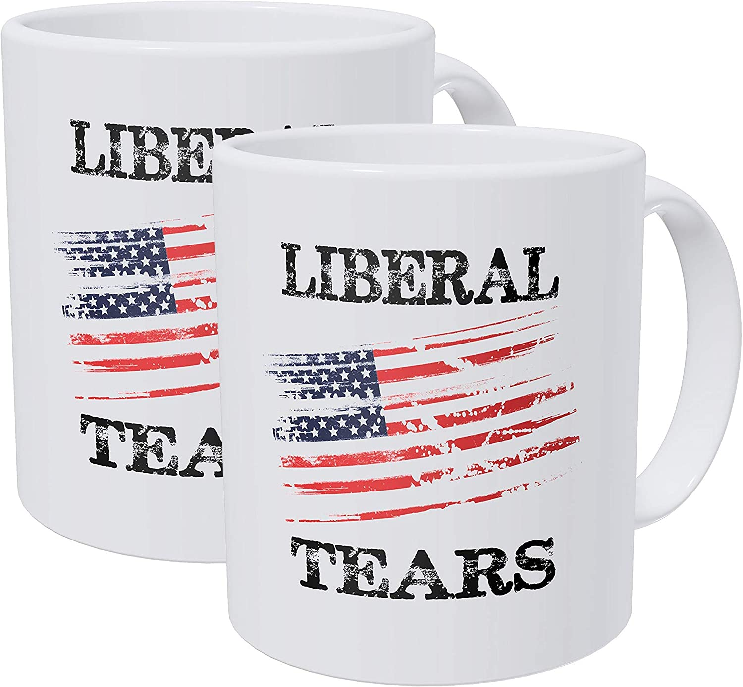 Willcallyou Pack of 2 Liberal Tears American Flag Republican 11 Ounces Funny White Coffee Mug