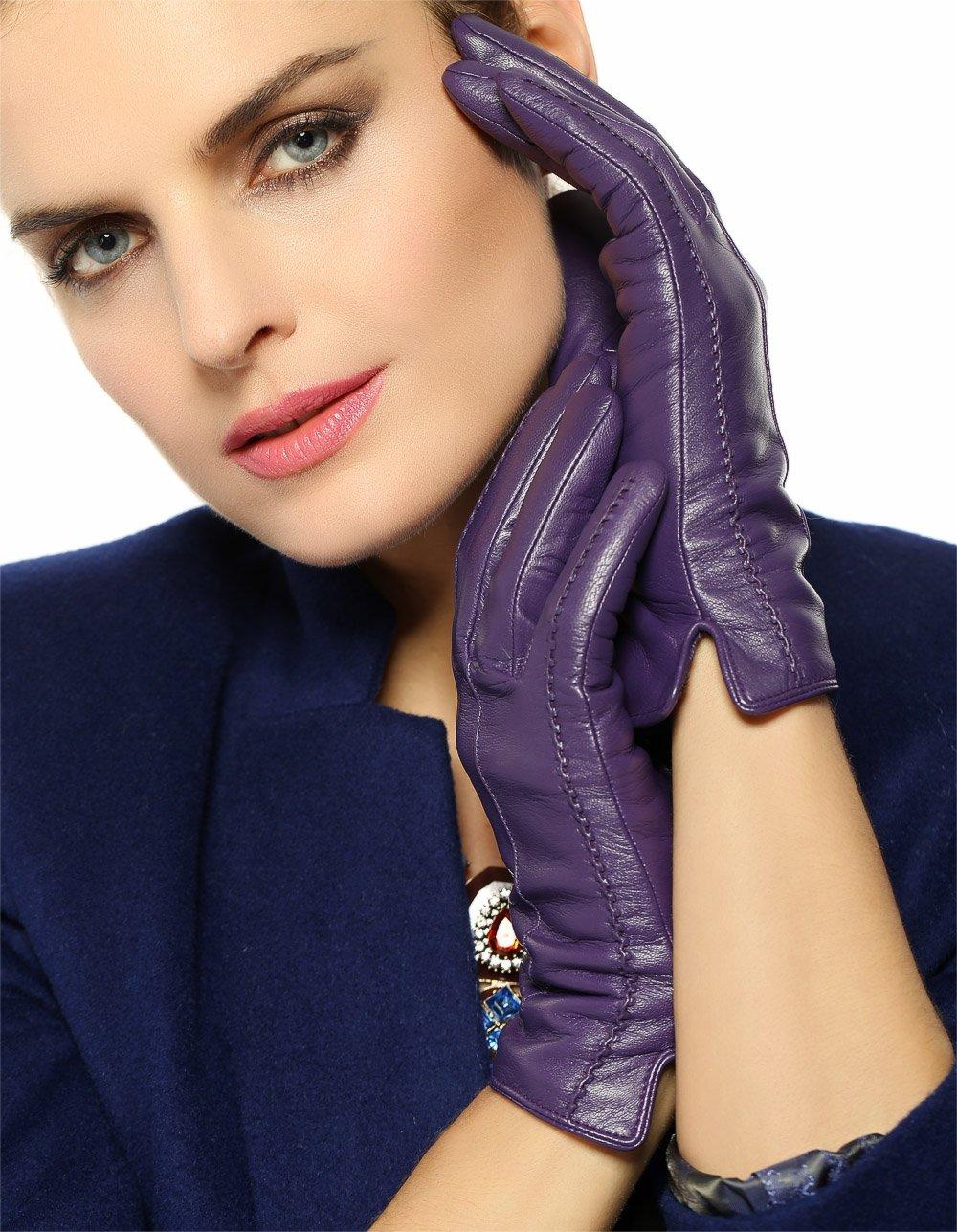WARMEN Classic Women's Geniune Leather Winter Warm Gloves Simple Sytle (L, Purple)