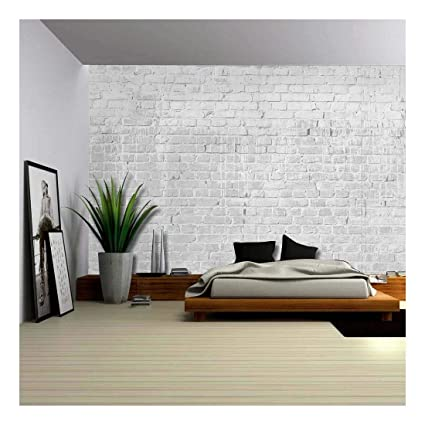 Amazon.com: wall26 - Gray and Grungy Brick Wall with Dripping White ...