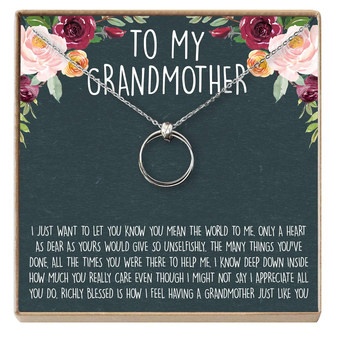 2 Linked Circles Grandmother to Be Dear Ava Grandmother Gift Necklace New Grandmother