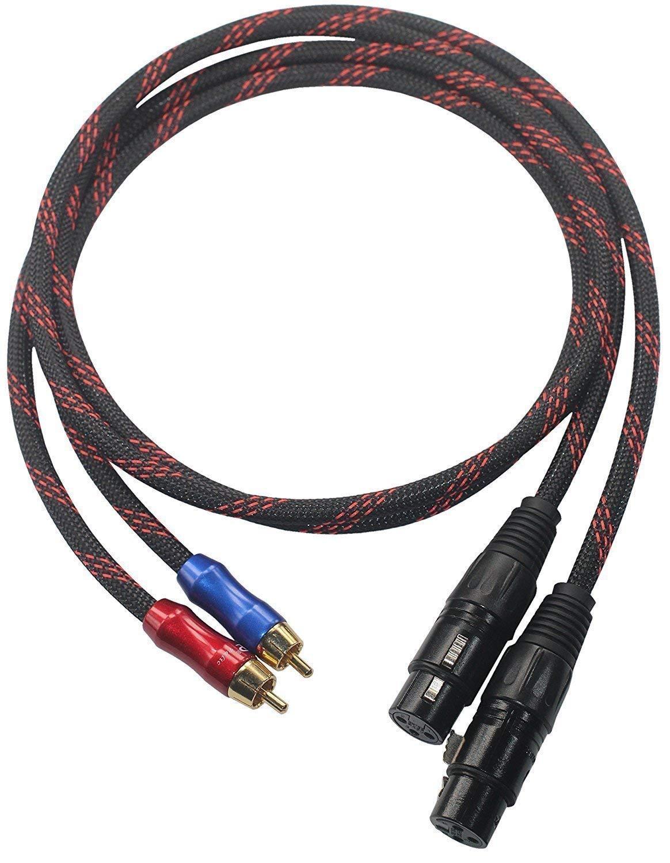 XLFM-RC1 HiFi Cable 2 XLR Female to RCA Male Quality Cables 2XLR to 2RCA, Dual XLR Female to Dual RCA, 4N OFC Wire XLFM-RC1 (5M(16ft))