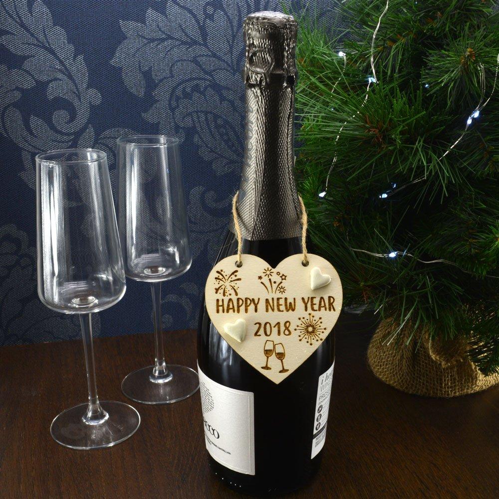 Feliz año nuevo 2018 hecho a mano botella de año nuevo encanto etiqueta regalo vino Prosecco de recuerdo de señal Gin celebración: Amazon.es: Hogar