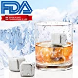 Chilling Stones Reusable Stainless Steel Ice Cubes Wine Chiller Cooler Chilling Rocks for Drinks Beverage Mokada Whiskey Wine Drinkers Lovers (Silver)