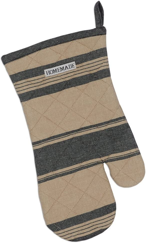 Heart of America Black French Stripe Oven Mitt - 2 Pieces