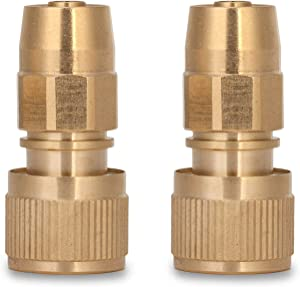 VERAT Garden Hose Joint, Expanding Water Hose Joint Male Adaptor Repair with Quick Connector for Car Garden Washing, Brass, Set of 2