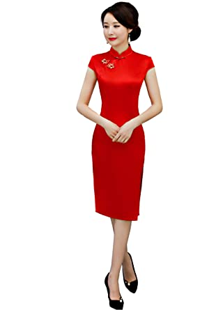 Amazon Shanghai Story Red Cheongsam Knee Length Solid Qipao