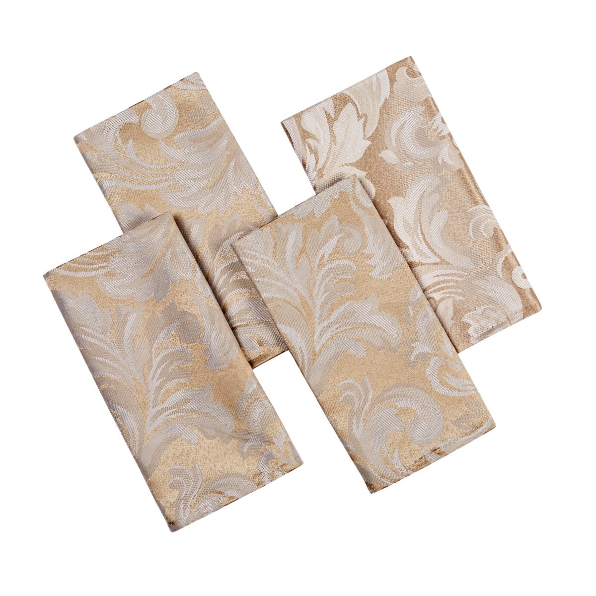 CHRISTMAS CADIZ DAMASK CHAMPAGNE(CREAMY/GOLD) PACK OF 4 NAPKINS 17IN X 17IN (43CM X 43CM) APPROX 4 Your Home