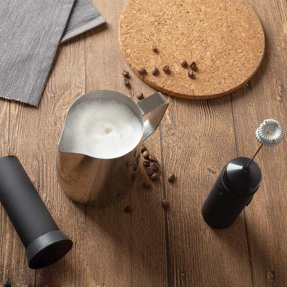 longrep Mezclador de Leche Licuadora de Cafe Batidor de Mano El/éctrico de Acero Inoxidable para Latte Cappuccino Macchiato Coffee Bater/ías No Incluidas