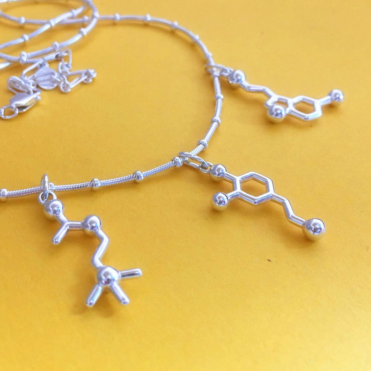 Creativity - Dopamine Serotonin Acetylcholine - Molecule Necklace in sterling silver by Made With Molecules
