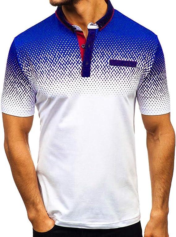 Camisa para Hombre Manga Corta con Estampado Degradado Casual ...