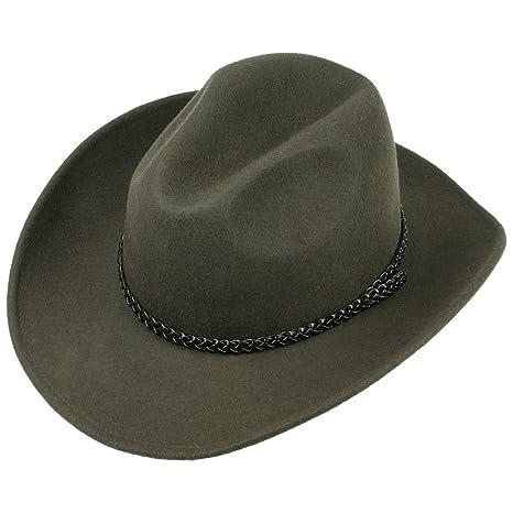 Lipodo Cappello da Cowboy Nero Oliva Cappello Western in 100% Feltro di  Lana  89449cd80540
