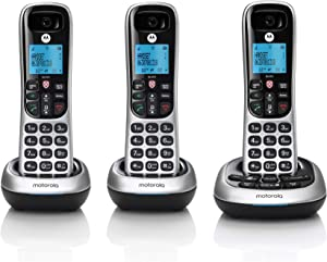 Motorola CD4013 DECT 6.0 Cordless Phone with Answering Machine and Call Block, Silver/Black, 3 Handsets