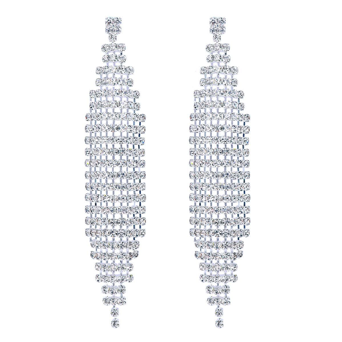 FOCALOOK Rhinestone White Gold Plated Bohemia Long Tassels Link Fringe Dangle Wedding Earrings for Bride