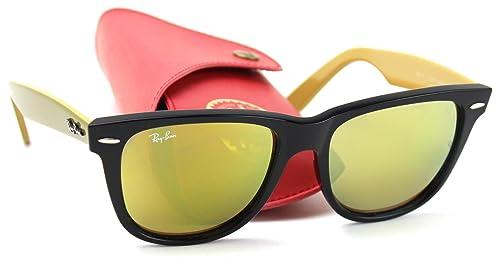 Amazon.com  Ray-Ban RB2140 117393 Wayfarer Bicolor Sunglasses Black Frame    Yellow Flash Lens 54mm  Shoes 2d795adacb98