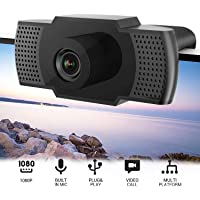 1080P HD Webcam with Microphone,USB Webcam, Built-in Noise Reduction,Plug & Play Fixed Focus,Widescreen Streaming Webcam for PC/Mac Laptop/Desktop Streaming Video Calling Recording Conferencing