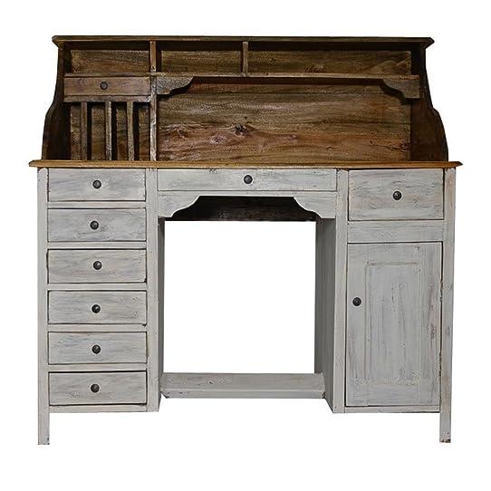 Bureau table secretaire style meuble ancien bois blanc ecriture