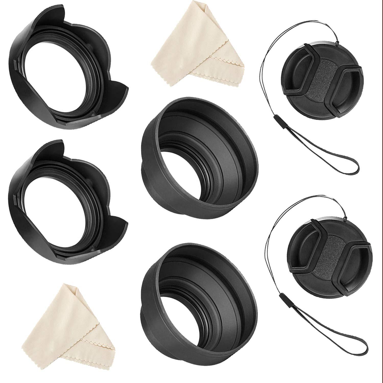 55mm and 58mm Lens Hood Set for Nikon D5600, D3400 DSLR Camera with Nikon 18-55mm f/3.5-5.6G VR AF-P DX and Nikon 70-300mm f/4.5-6.3G ED