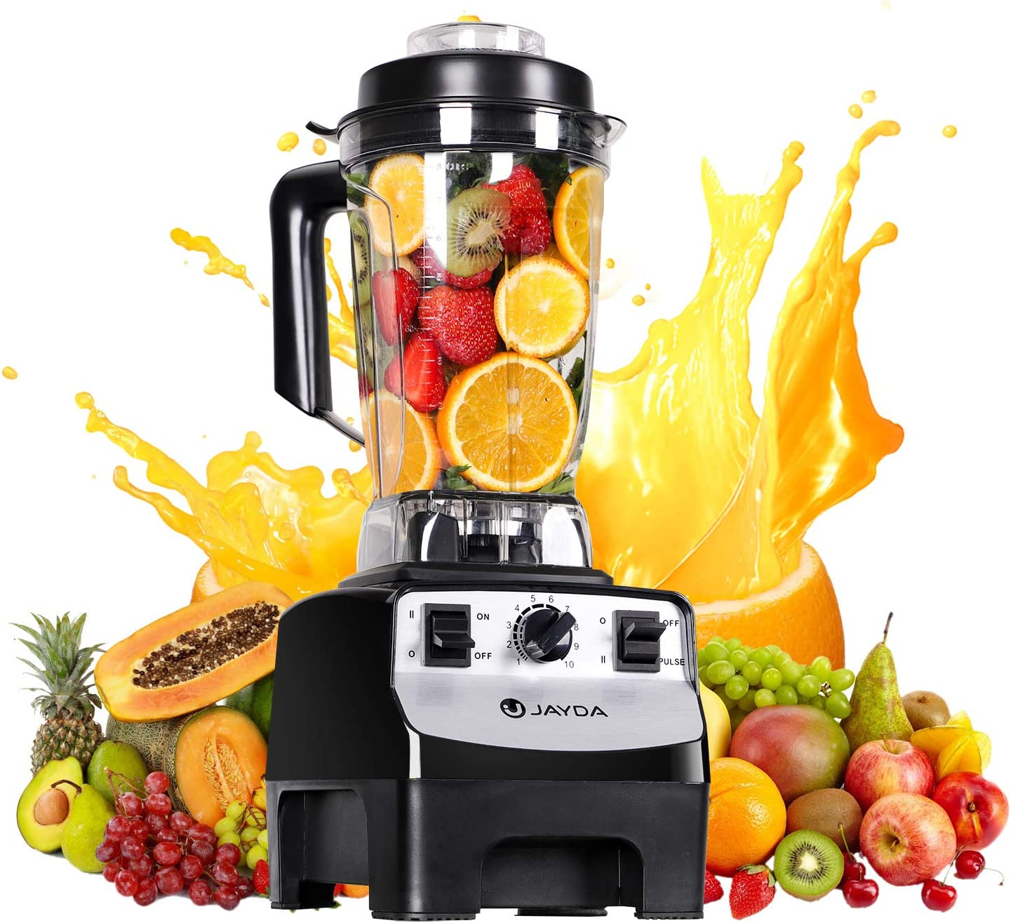 JAYDA 68 OZ Professional Countertop Blender, 1450W Kitchen Cooking Blender, BPA Free Jar, 10-Speed Settings for Smoothie Ice and Frozen Fruit,Black and Stainless Steel