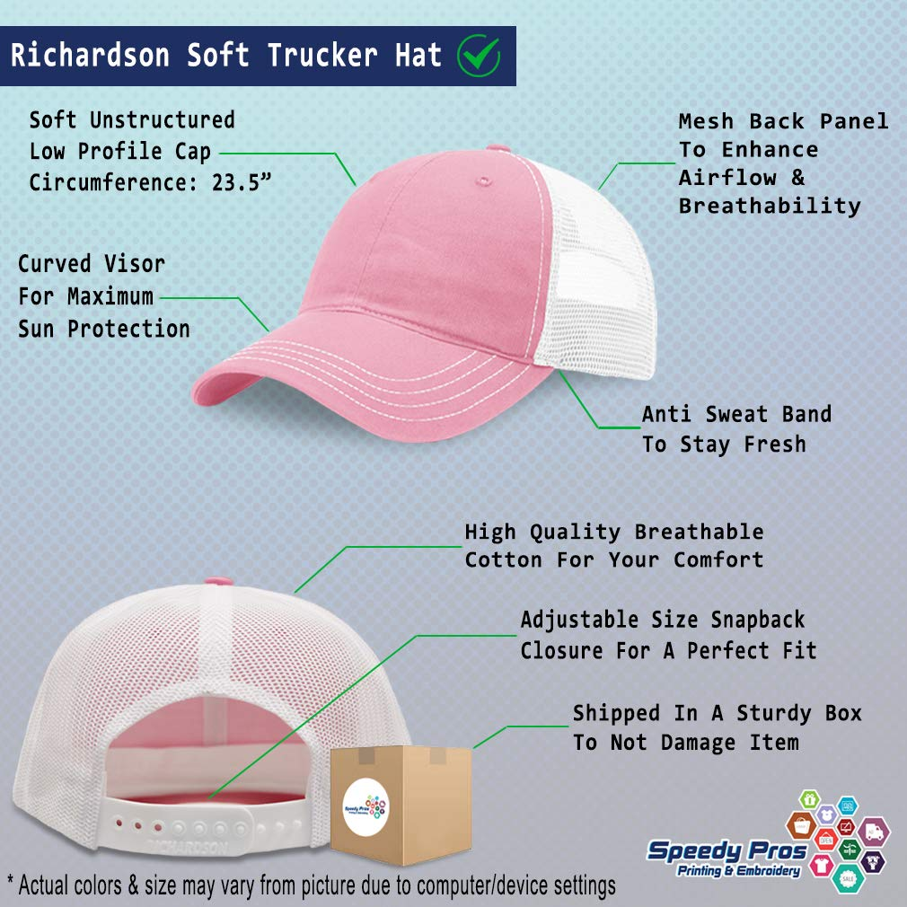 Custom Trucker Hat Richardson Yellow Peace Elephant Embroidery Soft Mesh Cap