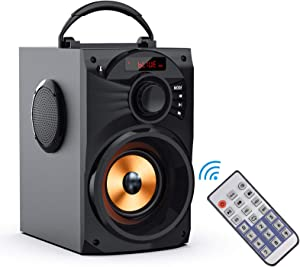Portable Bluetooth Speaker Subwoofer Heavy Bass Wireless Outdoor/Indoor Party Speaker Line in Speakers Support Remote Control FM Radio TF Card LCD Display for Home Party Phone Computer PC,Travel