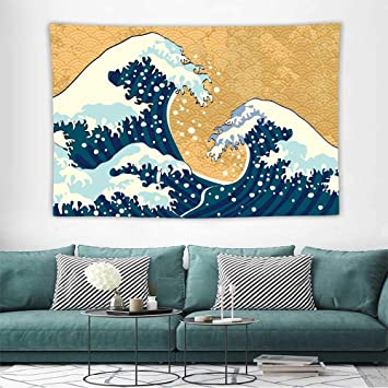 Amazoncom Alisoso Japanese Wavewall Tapestries Hippie Sea