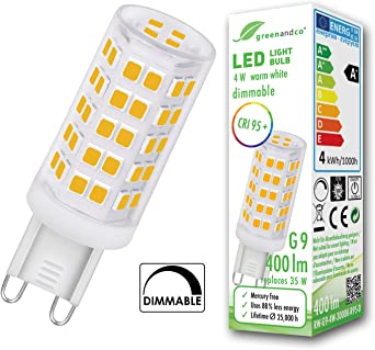 Bombilla Led Regulable Greenandco Irc 95 G9 4w Corresponde A