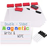 Gamenote Magnetic Small White Board Set - Double Sided Magnet Dry Erase Ruled Lap Boards 9x12 Lined Whiteboard for Kids Stude