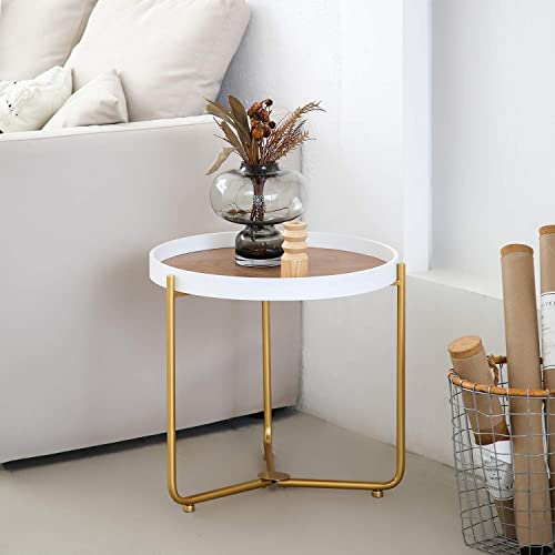 MHKanS Wooden Round Side Table Foldable Coffee Table Accent Table Tray End Table