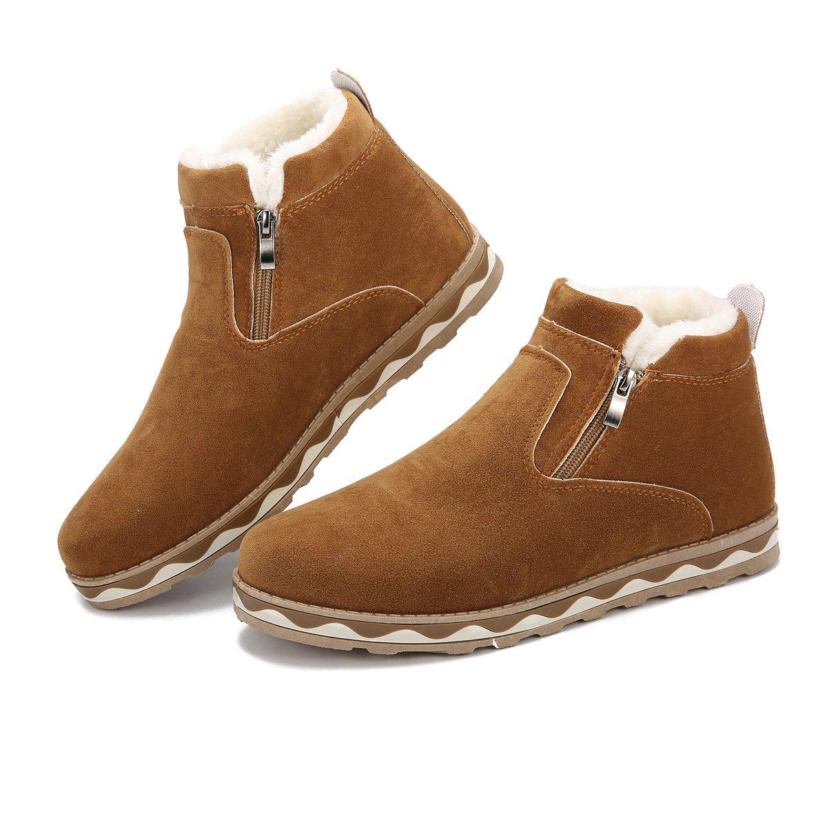1afe17d6c04e00 Amazon.com   gracosy Men's Boots, British Style Suede Flat Platform Shoes  Plus Velvet Winter Male Lace Up Cotton Snow Boots Light Tan 7.5 D(M) US.